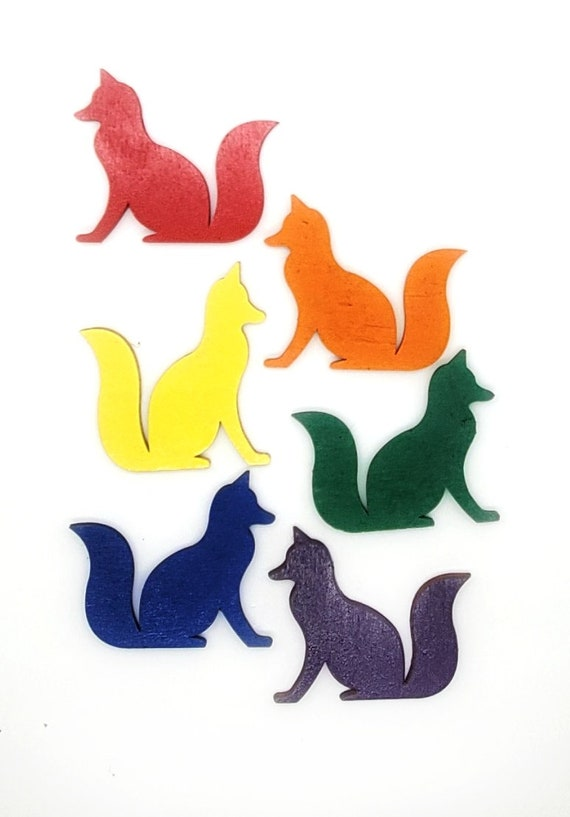 Wooden Fox Magnets 3 pcs - Fridge magnets - Wedding magnets - Save the date magnets- Custom
