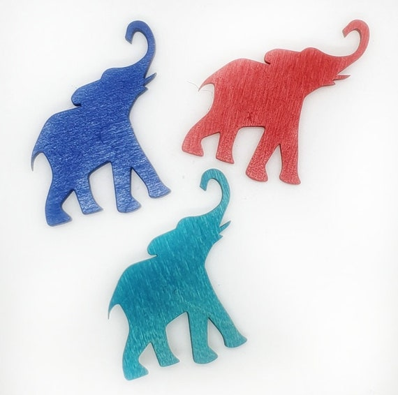 Wooden Elephant Magnets 3pcs - Fridge magnets - Wedding magnets - Save the date magnets- Custom