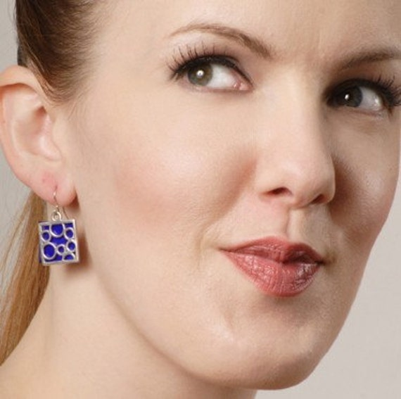 Medium Square bubble earrings in Blue