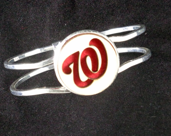 Nats baseball Cuff Bracelet from cut Plywood and Felt set into Hinged Stainless Steel setting