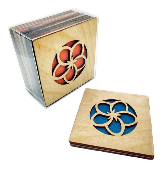4 Flower Coasters wooden laser cut natural eco-friendly Waterproof plywood birch and Felt