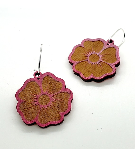 DC Cherry Blossom Earrings from cut Plywood with Silver ear wires