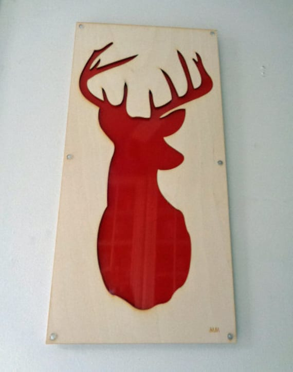 Plywood Deer and Recycled Aluminum in Red