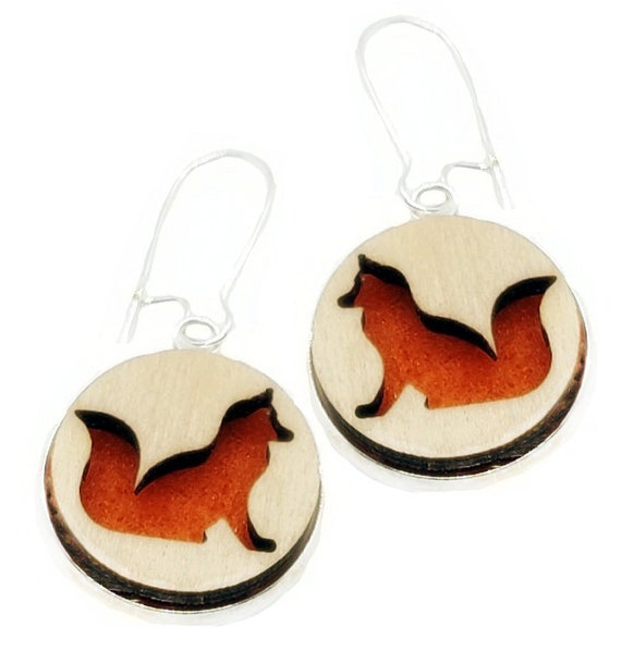 Fox Earrings from cut Plywood and Felt set in Stainless Steel and hung from silver