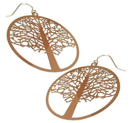 Enameled Filigree Tree Earrings in Brown