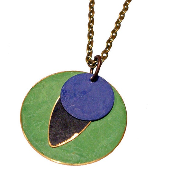 Large Round Brass Patina Pendant in Lime, Jet and Purple