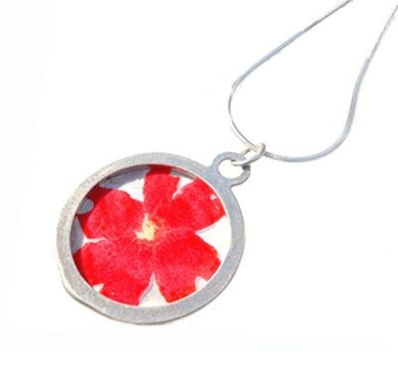 Red Verbena/sterling silver pendant