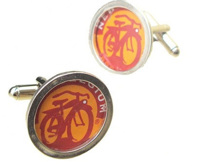 Father's Day Gift Bike Cufflinks /Fat Tire Silver links