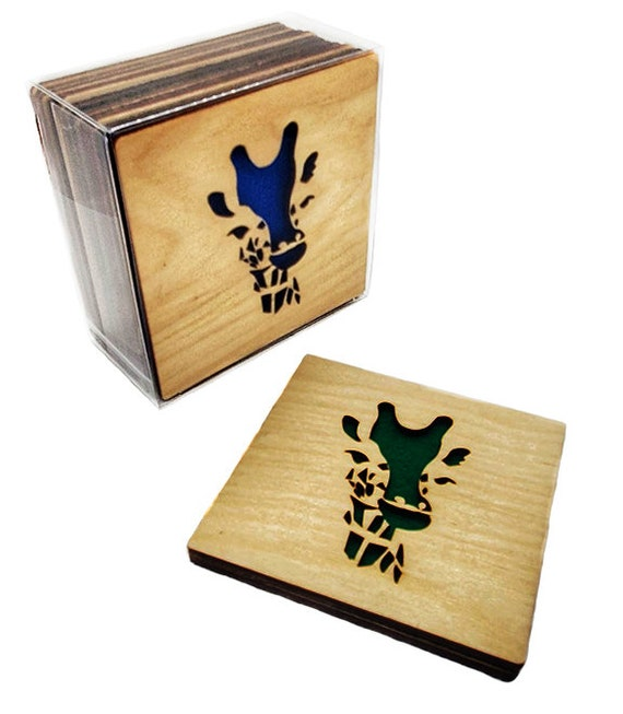 4 Giraffe Coasters wooden laser cut natural eco-friendly Waterproof plywood birch and Felt