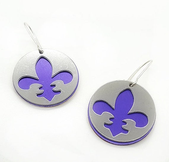 Reversible Fleur de lis Earrings with Anodized Aluminum and Plywood
