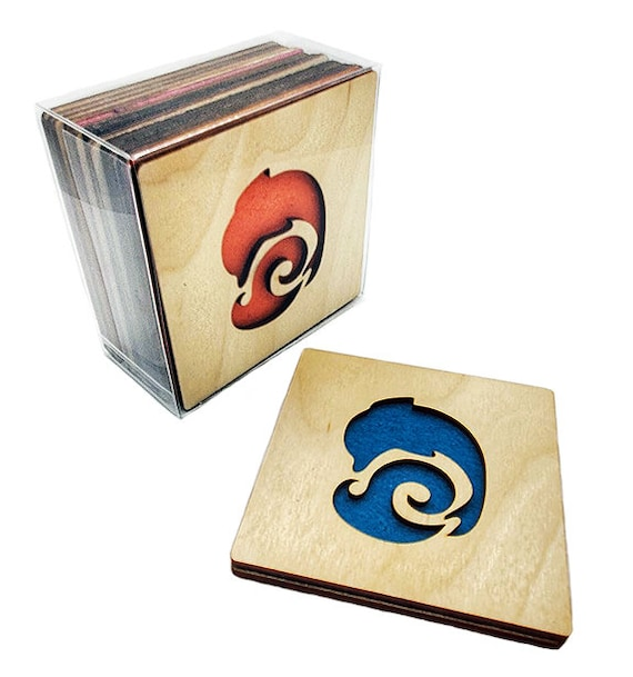 4 Dolphin Coasters wooden laser cut natural eco-friendly Waterproof plywood birch and Felt