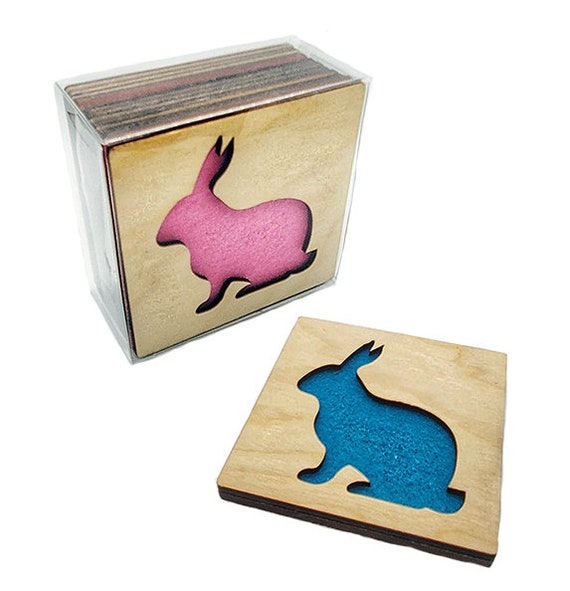 4 Branch Coasters wooden laser cut natural eco-friendly Waterproof plywood birch and Felt