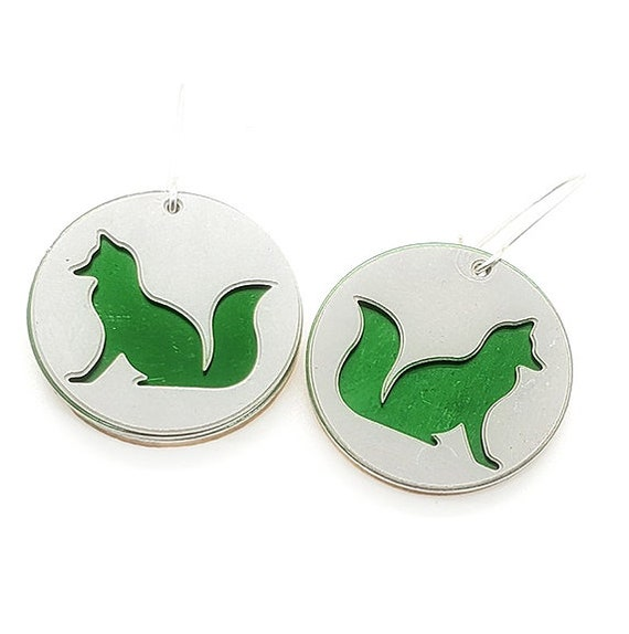 Reversible Fox Earrings with Anodized Aluminum and Plywood