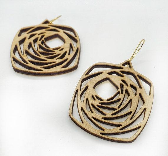 Wood Filigree Square Rose Earrings