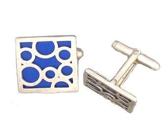 Square sterling silver blue bubble cufflinks