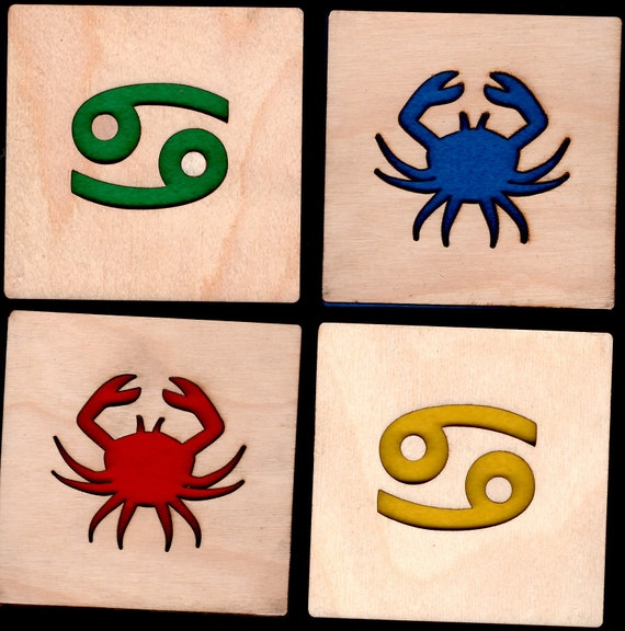 4 Cancer Zodiac Coasters wooden laser cut natural eco-friendly Waterproof plywood birch and Felt