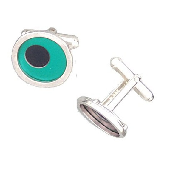 Father's Day Gift of Two Tone Silver/recycled aluminum cufflinks aqua and jet