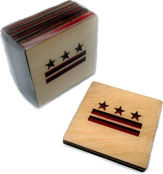 4 DC Flag Coasters laser cut natural eco-friendly Waterproof plywood birch and Felt