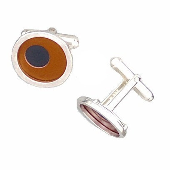 Father's Day Gift of Two Tone Silver/recycled aluminum cufflinks brown and jet