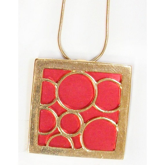recycled aluminum/20k gold vermeil lrg. square bubble pendant
