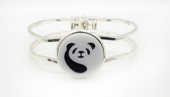 Panda Cuff Bracelet from cut Acrylic and Felt set into Hinged Stainless Steel setting