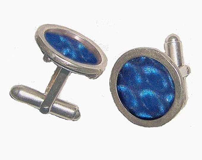3D effect blue silver cufflinks