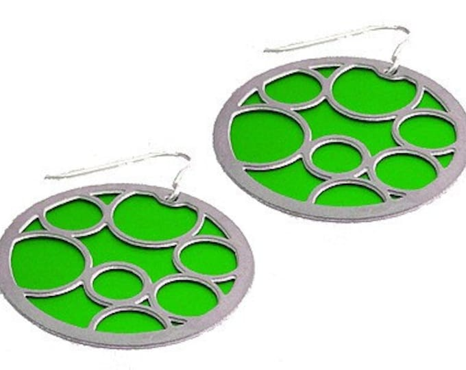 large lime round bubble earrings on front and black on the back