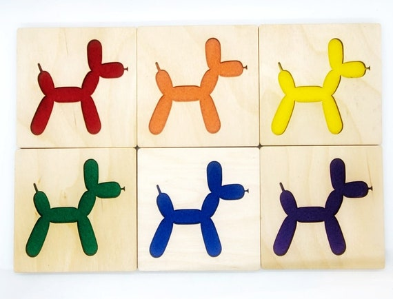 4 Balloon Dog Coasters laser cut wood natural eco-friendly Waterproof plywood birch and Felt