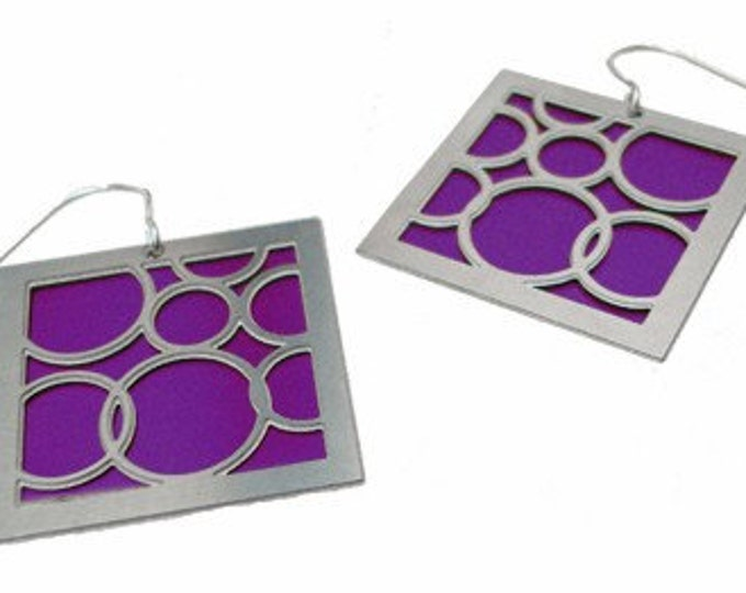 large square purple bubble earrings