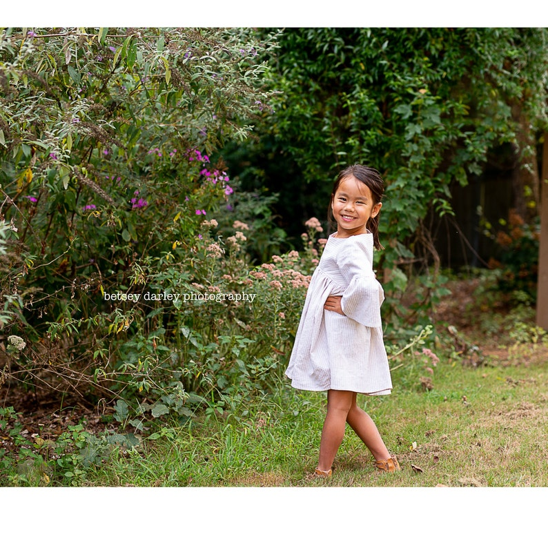 Early Spring Linen Dress with Bell Sleeves By Custom Order in Sizes 2 through 10