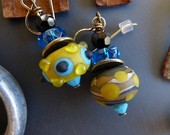 Asymmetrical Etched Lampwork Glass Earrings in Mustard and Aqua