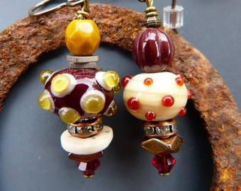 Asymmetrical Lampwork Bead Earrings in Cream, Garnet and Mustard