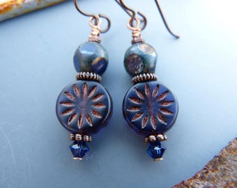 Violet and Navy Earrings with Copper Accents