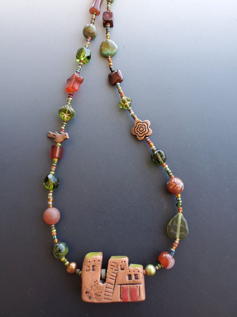 Short Olive and Rust Necklace with Pueblo Pendant