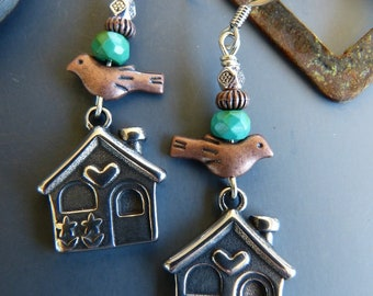 House Charm Earrings with Copper Birds