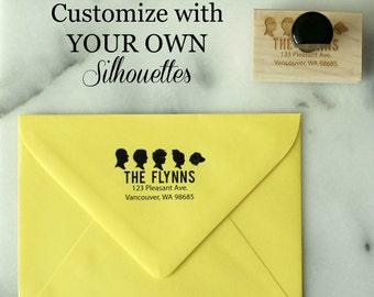 Personalized Silhouette Address Stamp   / Custom Family Silhouette Address Stamp by Simply Silhouettes - made from your photos