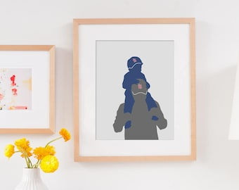 Father's Day Gift For Dad, Gift for Him, Custom Silhouette Family Portrait, Gift from Daughter, Gift from Son, gift for Grandpa