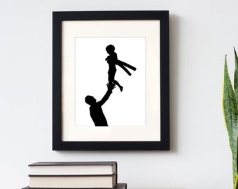 Parent and Child Custom Silhouette Print -  with 2 figures (family, father & child) - made from your photo, family portrait, Father's Day