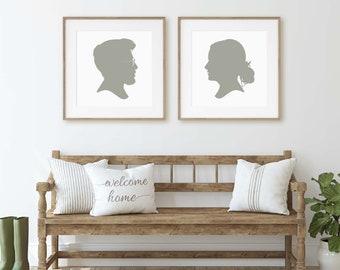 Custom Silhouette Print / Personalized Silhouette / Silhouette  / Silhouette Print - Made from your Photos / Custom Portrait