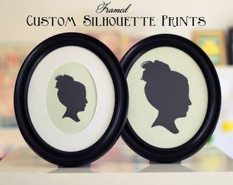 """Custom FRAMED Silhouette Print - 5"""" x 7"""" or 8"""" x 10"""" Oval Frame - Custom Silhouette Portrait - Style Framed Silhouette / Christmas Gift Idea"""