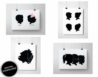 Custom DIGITAL Silhouette / Personalized Silhouette /Digital Download  / Silhouette Print - Made from your Photos / Custom Portrait