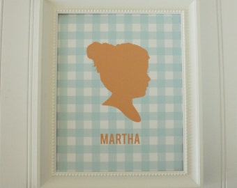 Personalized Custom Silhouette Art Print - Portrait  made from your photo -Gingham - Silhouette Portait by Simply Silhouettes