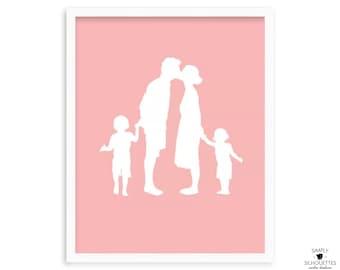 Custom Family Portrait Silhouette Print //  Personalized Family Portrait //  Family Silhouette // Custom Silhouette