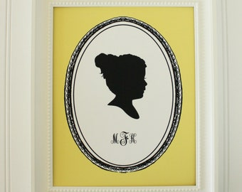 Personalized Custom Silhouette Print made from your photo - Vintage Frame Design - Silhouette Portrait by Simply Silhouettes