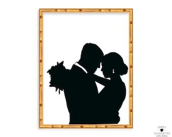 Custom Silhouette Couple Print / Anniversary Gift / Wedding Silhouette Portrait / First Anniversary Gift