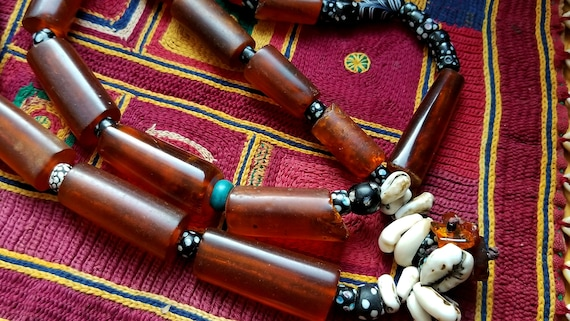 Rare Mizoram tribal amber cylindrical beads, antique trade beads, necklace  by Helena Nelson - Reed