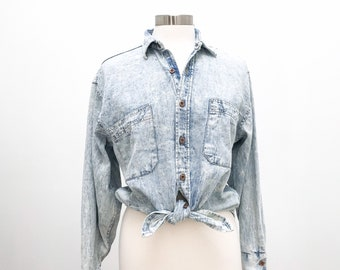 Acid Washed Chambray Top Button Down