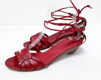 Vintage Red Leather Strappy Ankle Wrap Sandal - Size 8M