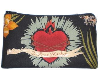 Viva Frida Mexican Art Day of the Dead Zipper Pouch Makeup Bag Gadget Bag Clutch
