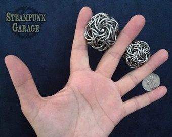 Dodecahedron - 12 sided chainmaille sculpture fidget - 14swg and 16swg - stainless steel